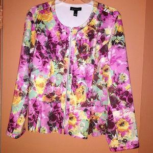 Flowered Peplum Jacket 3x
